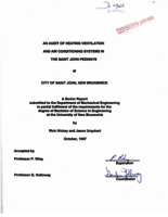 An audit of heating ventilation and air conditioning systems in the Saint John pedways at City of Saint John, New Brunswick