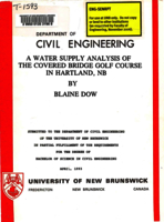 A  water supply analysis of the covered bridge golf course in Hartland, NB