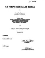 Air filter selection and testing at Physical Plant Department, University of New Brunswick