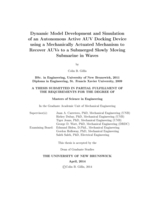 Dynamic model development and simulation of an autonomous active AUV docking device using a mechanically actuated mechanism to recover AUVs to a submerged slowly moving submarine in waves