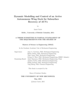 Dynamic modelling and control of an active autonomous wing dock for subsurface recovery of AUVs