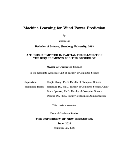 Machine learning for wind power prediction | UNB Scholar