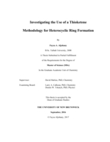 Investigating the use of a thioketene methodology for heterocyclic ring formation