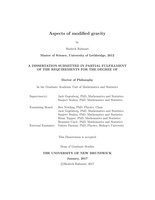 Aspects of modified gravity