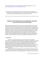 Language and communication in mathematics education: an overview of research in the field
