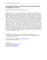 Lexical bundle analysis in mathematics classroom discourse: The significance of stance