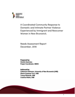 A coordinated community response to domestic and intimate partner violence experienced by immigrant and newcomer women in new Brunswick - needs assessment report