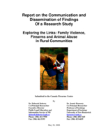 Report on the communication and dissemination of findings of a research study - Exploring the links: family violence, firearms and animal abuse in rural communities