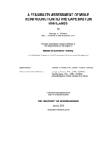 A feasibility assessment of wold reintroduction to the Cape Breton Highlands