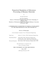 Numerical simulation of microwave processing of biomass materials