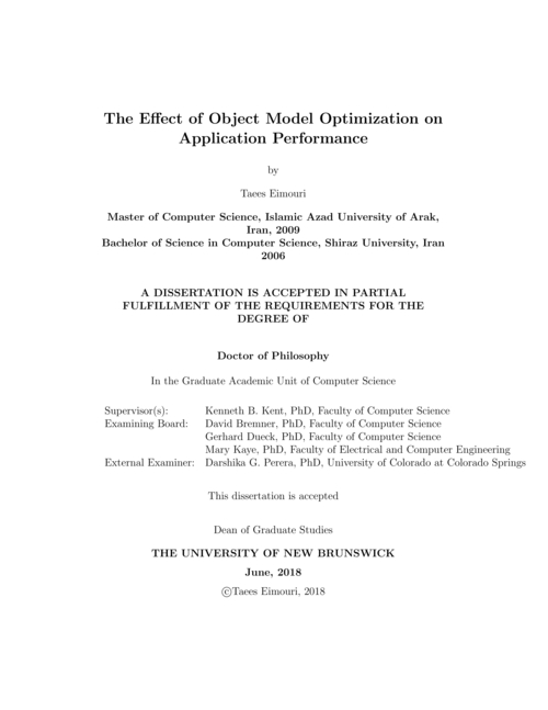 The effect of object model optimization on application performance