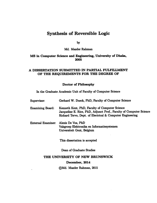 Synthesis of reversible logic | UNB Scholar