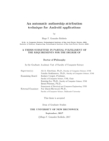 An automatic authorship attribution technique for Android applications