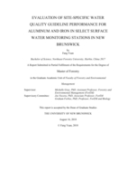 Evaluation of site-specific water quality guideline performance for aluminum and iron in select surface water monitoring stations in New Brunswick