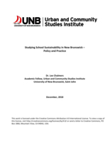 Studying School Sustainability in New Brunswick – Policy and Practice